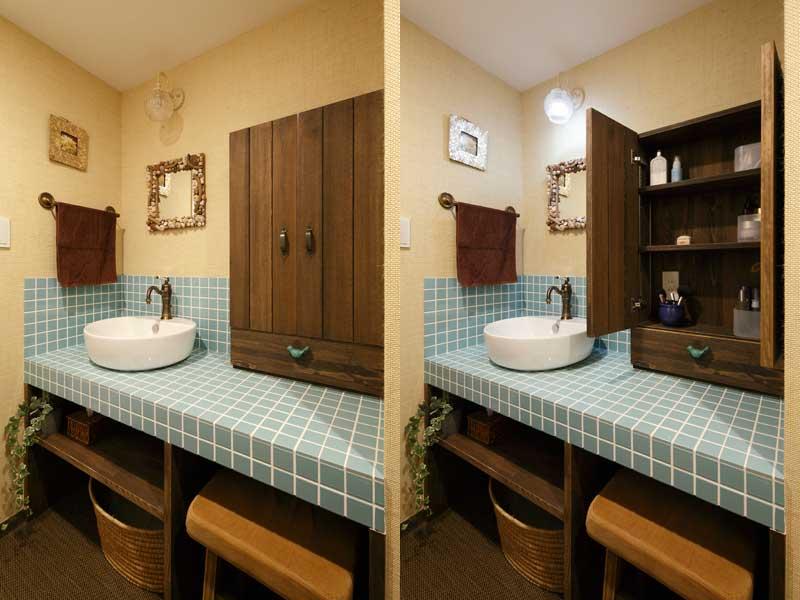 ぽってりとしたボウルがかわいい洗面室