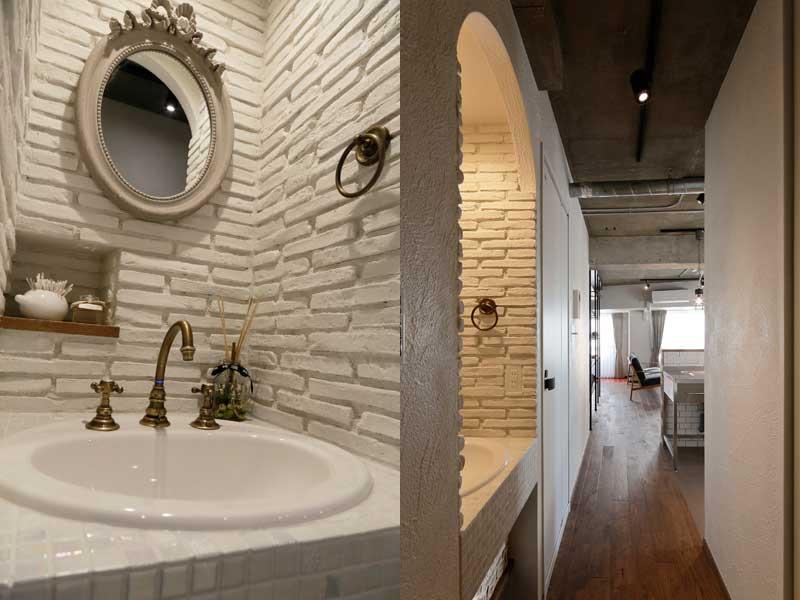 白い洗面室の様子
