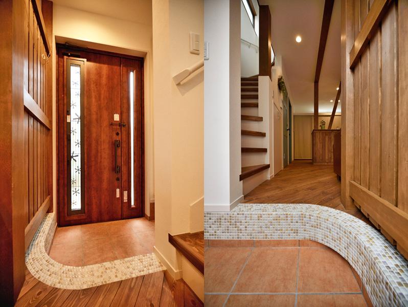 モザイクタイルが美しい玄関の様子