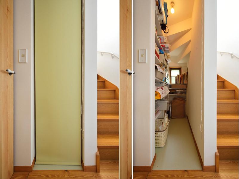 デッドスペースを使った階段収納の様子