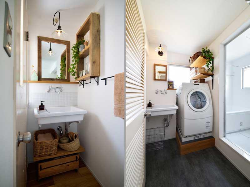 白を基調とした洗面室の様子