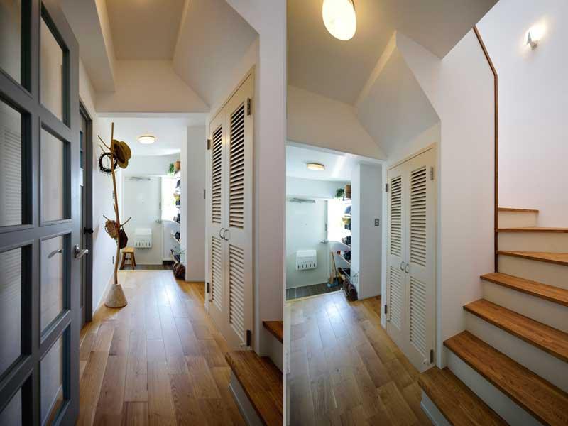 あたたかみある木調の廊下・階段の様子