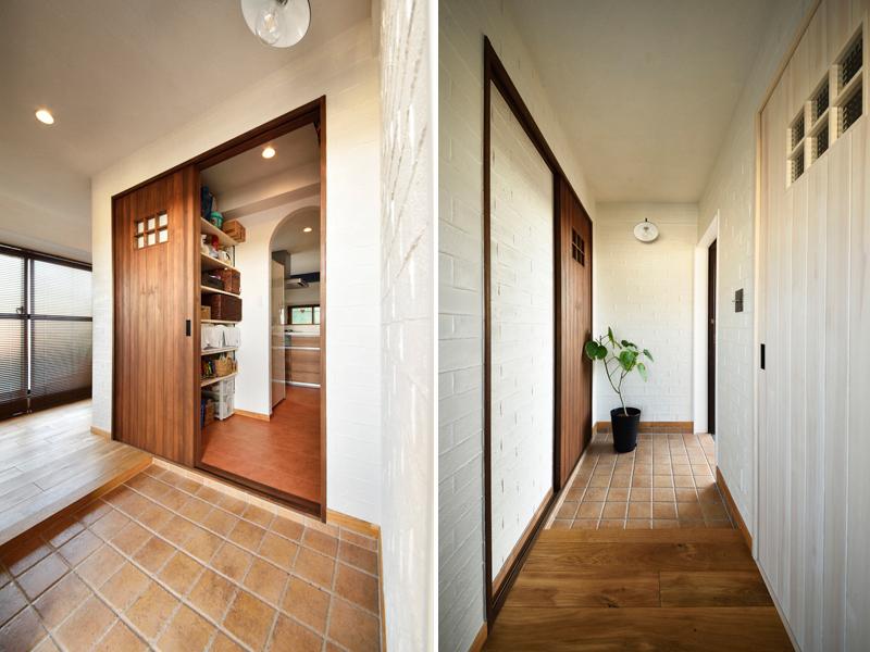 珪藻土塗装のナチュラルな玄関の様子