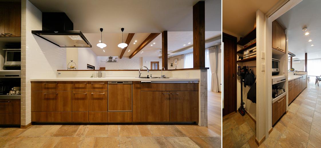 ブリックタイルを施工した対面キッチンの様子