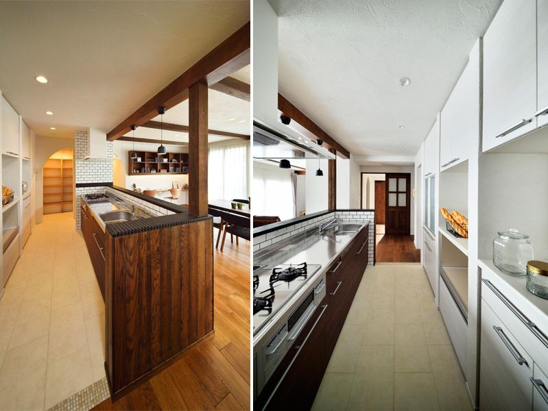 収納力の大きなキッチンの様子