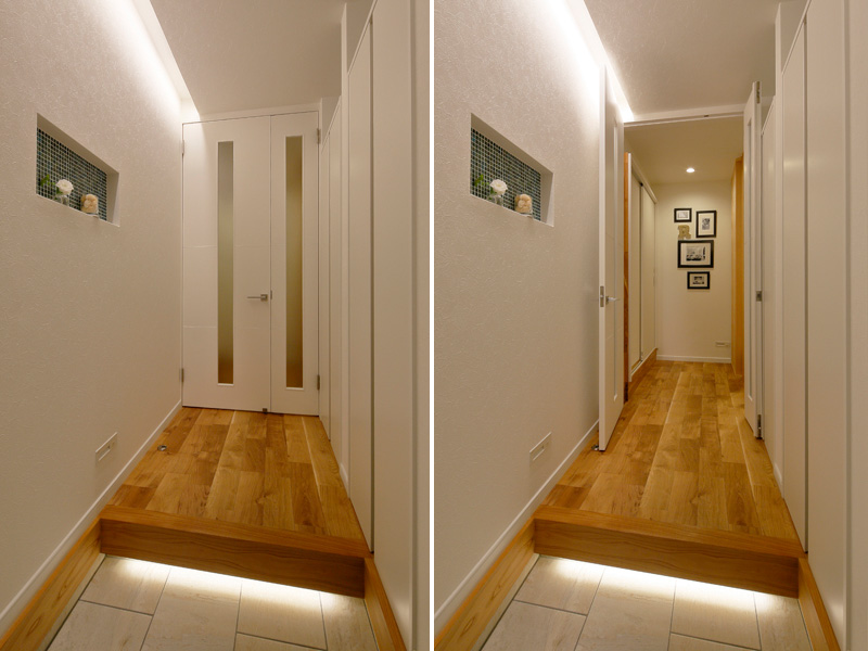 廊下に扉を付けたコンパクト仕様の玄関の様子