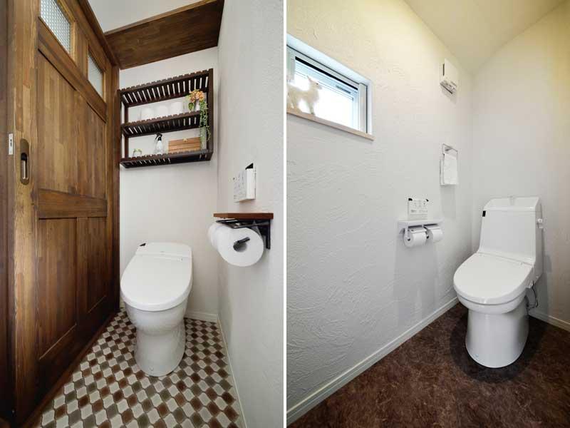 落ち着いたブラウン調のトイレの様子
