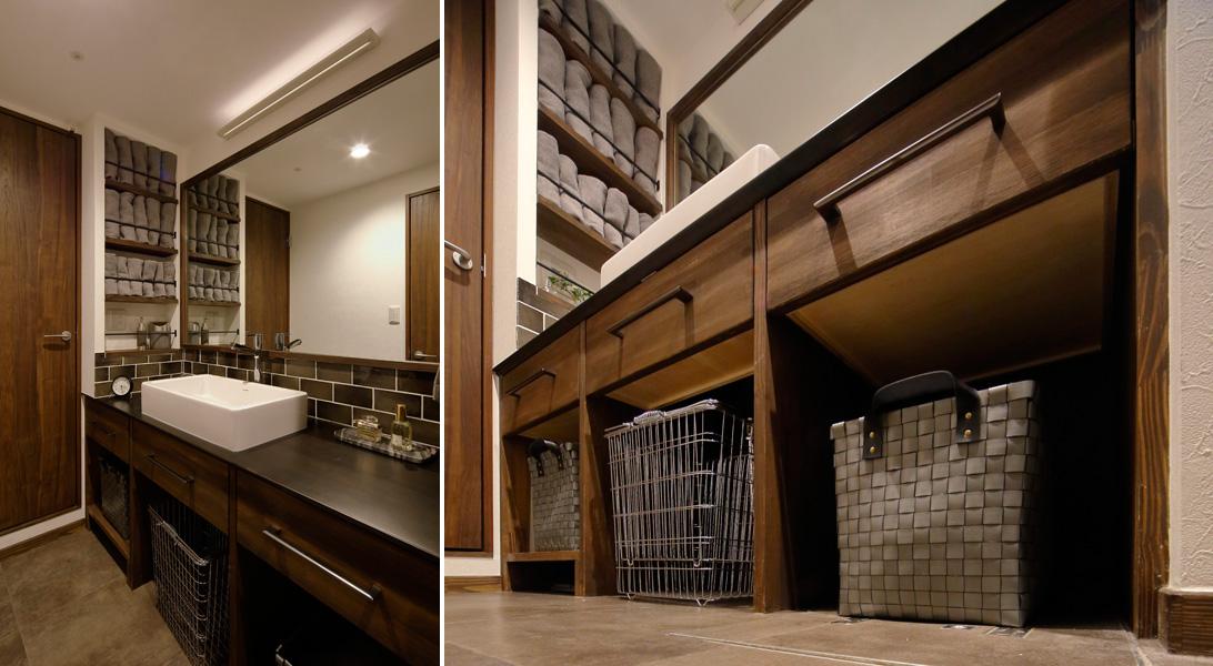 茶系をメインに穏やかな装いの洗面室の様子