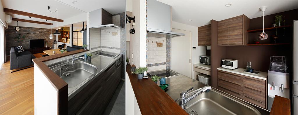 壁面のモザイクタイルが可愛い対面キッチンの様子