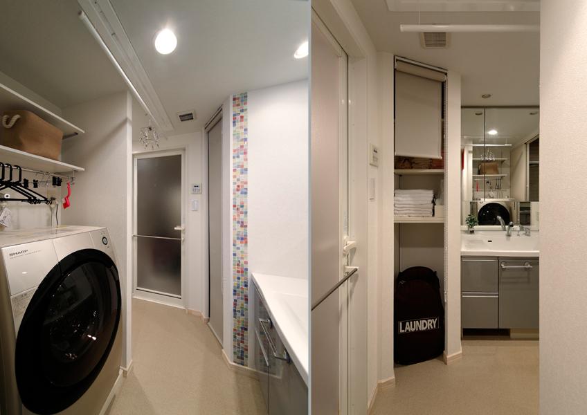 既存の洗面室とUBを利用した洗面室の様子