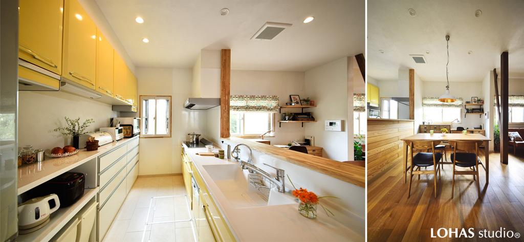 リビングと向き合う対面式のオープンキッチンの様子