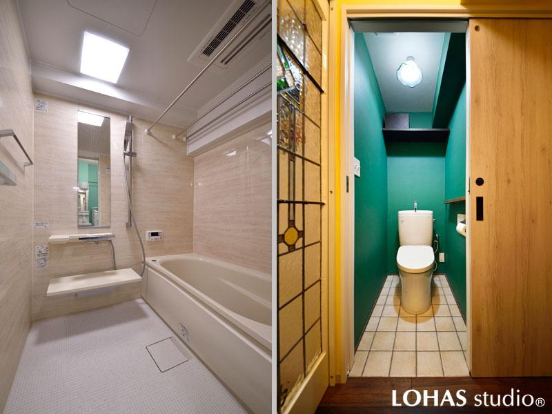 機能的で清涼感のある浴室/トイレの様子