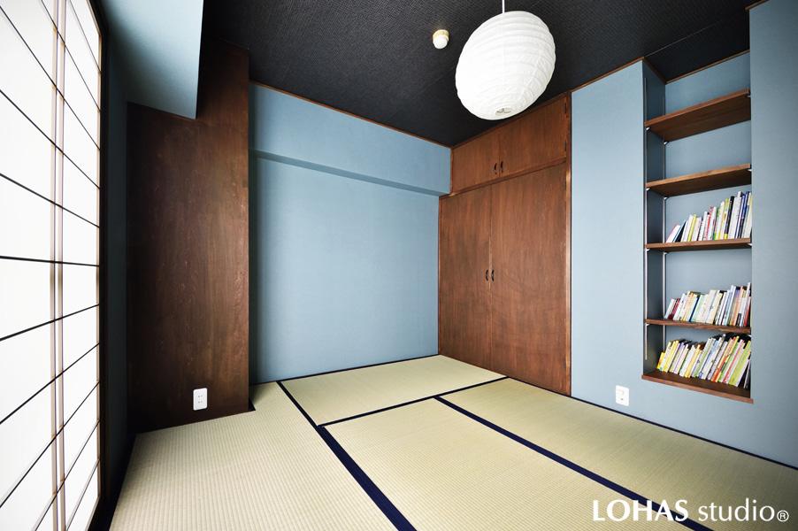ブルーグレー色が新しい和室の様子