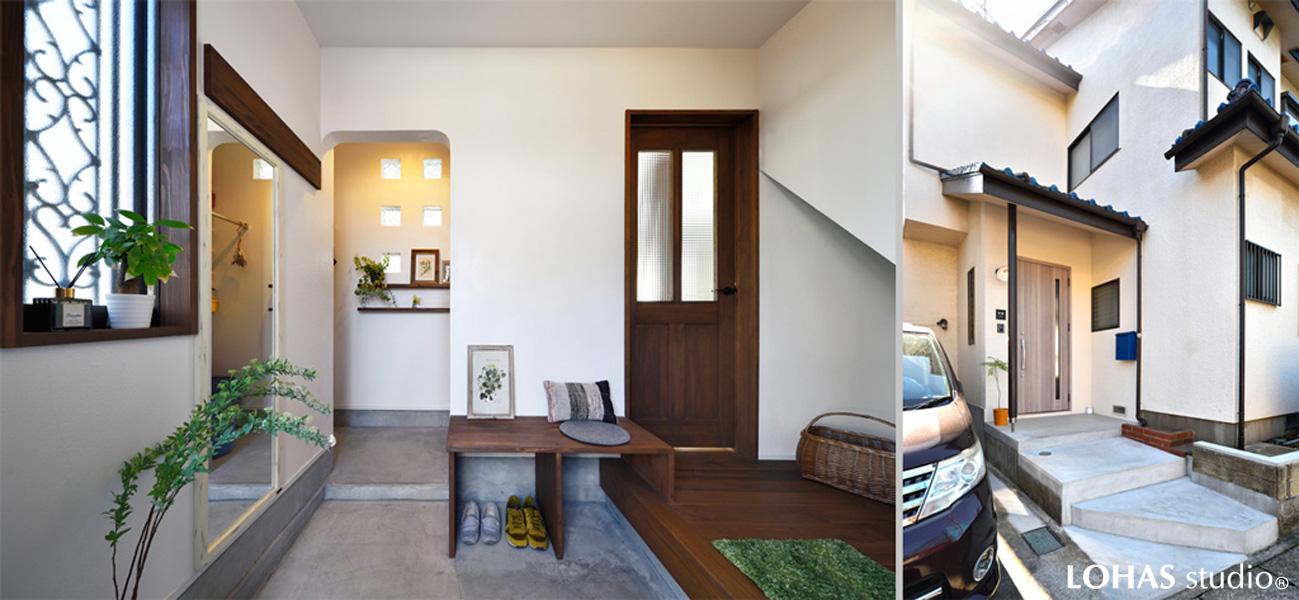 コンクリート施工のアプローチと玄関の様子