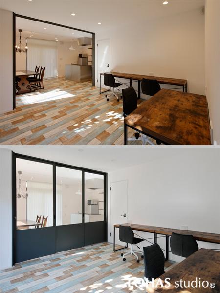カラフルな床が柔らかく明るい印象の洋室の様子