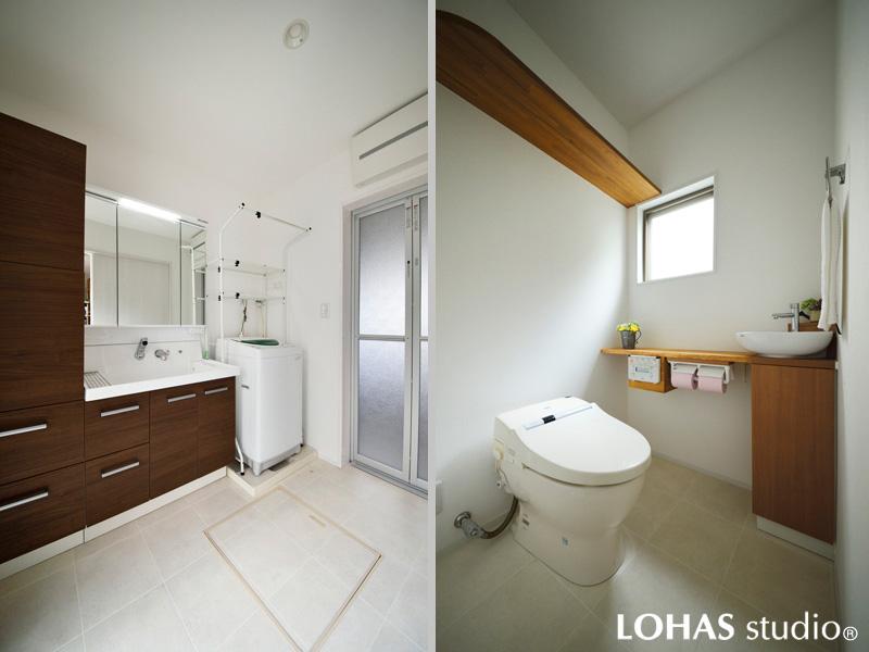 清潔感とゆとりあるスペースを造ったサニタリーの様子