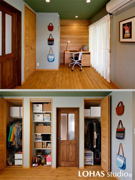 アースカラーを織り交ぜた個室の様子