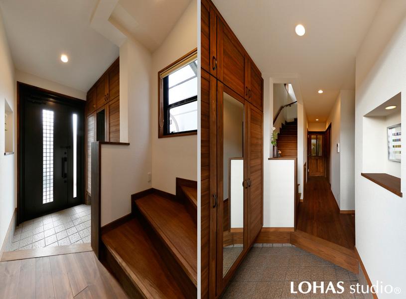 白基調の明るい玄関の様子