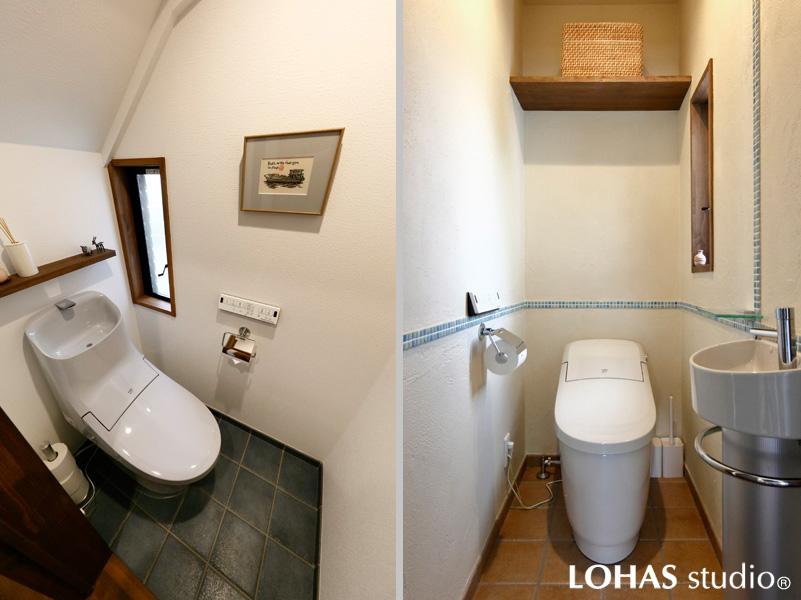 趣きの異なるトイレ2か所の様子