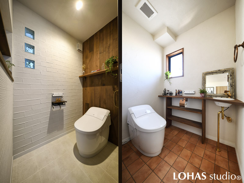 異なるマテリアルで雰囲気の違うトイレの様子
