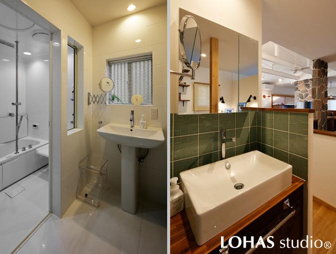 機能美にあふれた浴室とグリーンのタイルで彩られた洗面台の様子